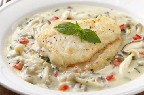 奶油野菇燴魚排