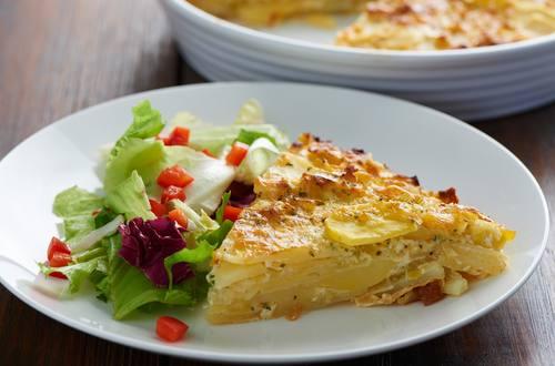 Kartoffel-Lauchgratin mit Carbonara