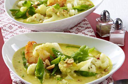 Blumenkohl-Curry-Suppe mit Garnele