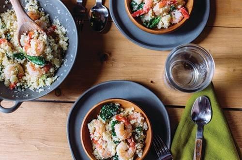 Couscous au chou-fleur et aux crevettes