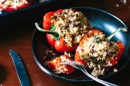 Cheddar Broccoli Rice Stuffed Peppers