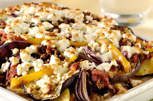 Moussaka végétarienne et légumes grillés