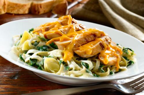 Grilled Chicken with Spinach & Artichoke Pasta