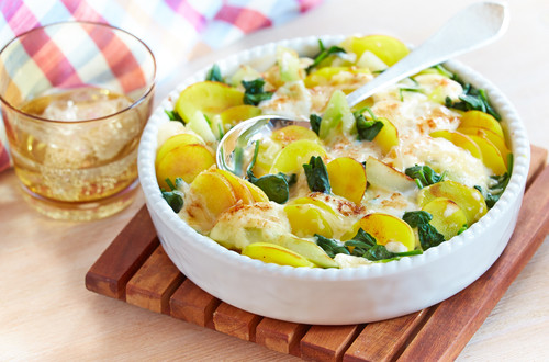 Kartoffelauflauf mit Spinat und Kohlrabi