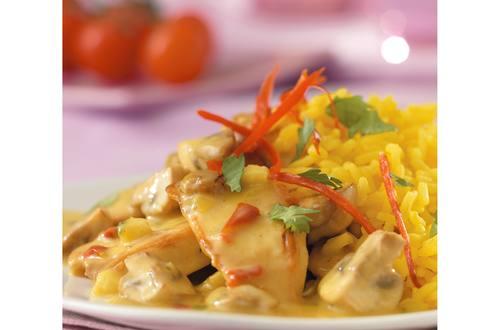 Poulet au curry, noix de coco et coriandre