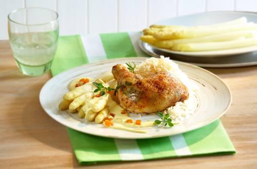 Knorr - Aprikosen-Hollandaise mit Hähnchenkeulen