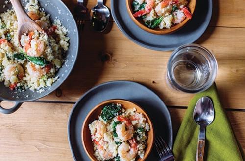 Cauliflower Couscous with Shrimp