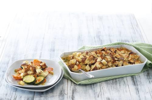 Gratin de carottes et de courgettes et croûte aux délices