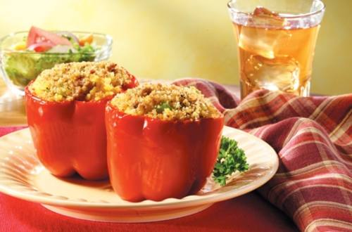 Cheesy Rice & Sausage Stuffed Peppers