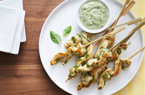 Chicken Skewers with Creamy Basil Dipping Sauce