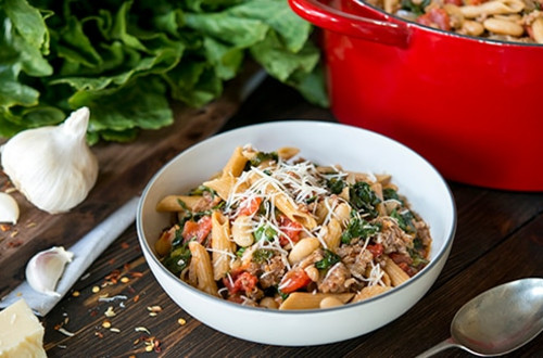 Tuscan Pasta with Sausage, Escarole & White Beans