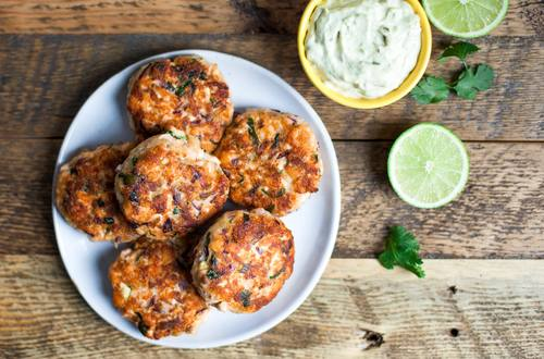 Asian Salmon Cakes with Avocado Mayonnaise