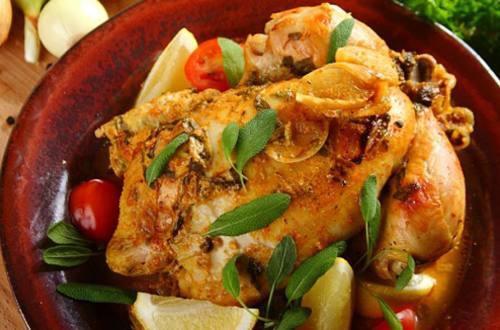 Жареная курица с шалфеем