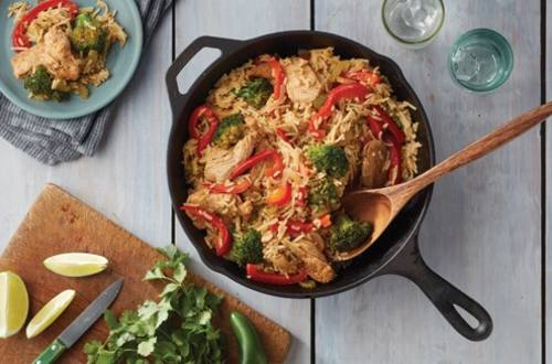 Chicken Fajita Skillet with Cheddar Broccoli Rice