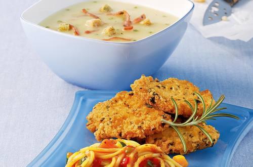 Knorr - Puten-Piccata Milanese mit Gemüse-Spaghetti