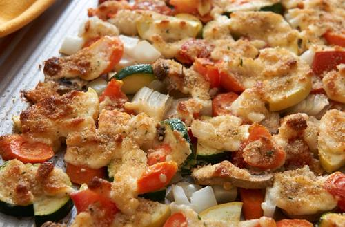 Verduras asadas con corteza de parmesano