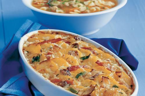 Knorr - Kartoffelauflauf mit Selchfleisch und Pilzen