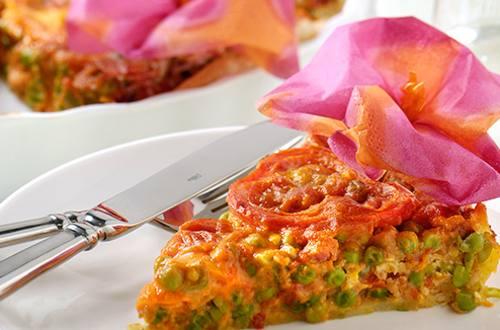 Tarte tomates aux petits pois et lardons