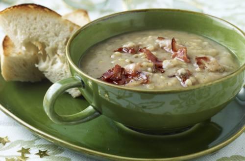 Soupe aux poireaux et au jambon de Parme