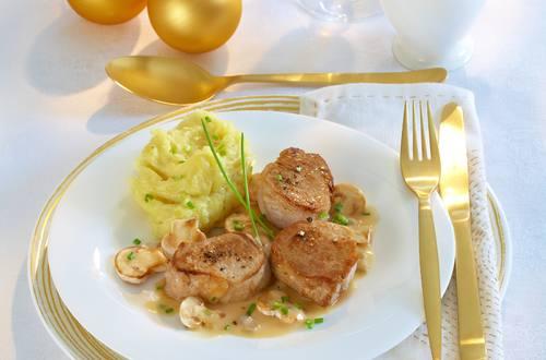 Knorr - Schweine-Medaillons in Balsamico-Pilzrahm