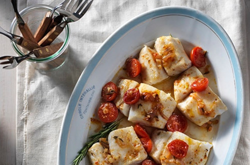 Morue Rôtie avec Tomates Cerises