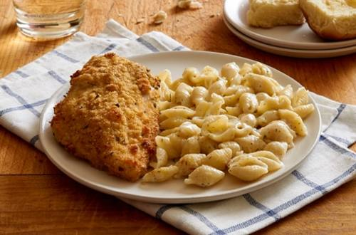 Parmesan Chicken with Garlic Pasta