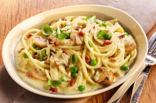 Knorr - Spaghetti mit Champignon-Erbsen Carbonara