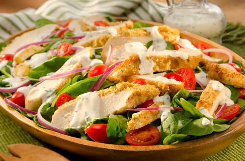 Zingy Baked Chicken Salad with Creamy Chive Dressing