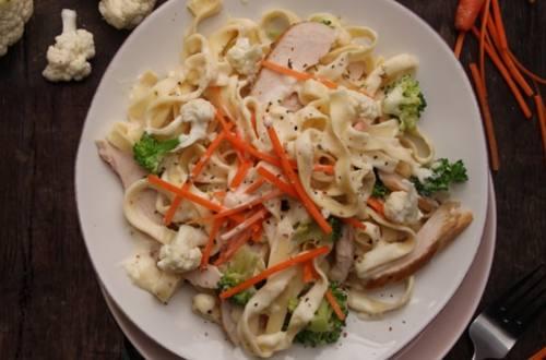 Spring Vegetable Chicken Alfredo