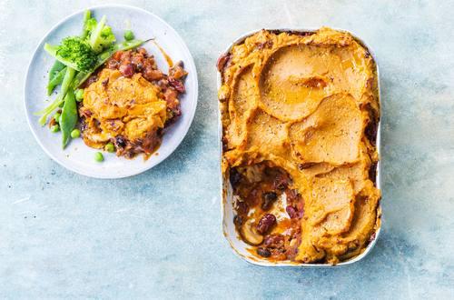 Shepherd's Pie mit Süßkartoffeln und Bohnen