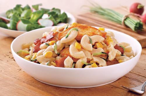 Macaroni Pasta Recipe with Zucchini, Chicken & Corn