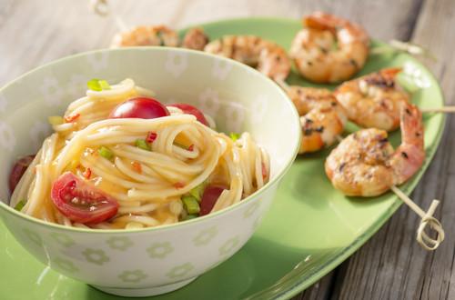 Chili-Mango-Spaghetti mit Scampi