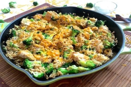 Chicken Cheddar Broccoli Rice Skillet