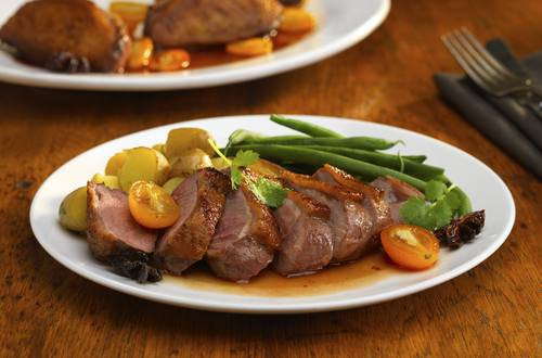 honey-glazed duck breasts