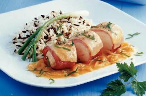 Knorr - Gratinierte Hühnerfilets mit Rahm-Zwiebelsauce