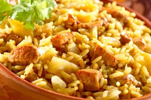 Paella Tropical De Cerdo