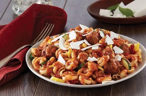 Tomato Basil Pasta & Meatless Meatballs