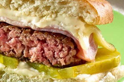 Hamburger met augurk en kaas
