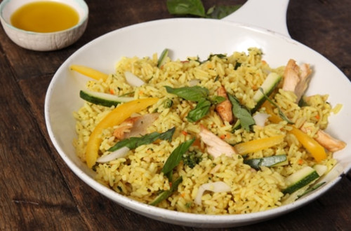 Chicken & Basil Rice Stir Fry
