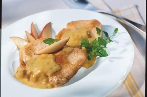 Knorr - Schweineschnitzel mit fruchtigem Curryrahm