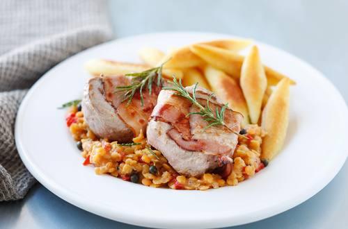 Knorr - Schweinsfilets auf Paprika-Linsen