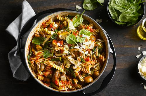 One pot mushroom ragout with fusilli and spinach