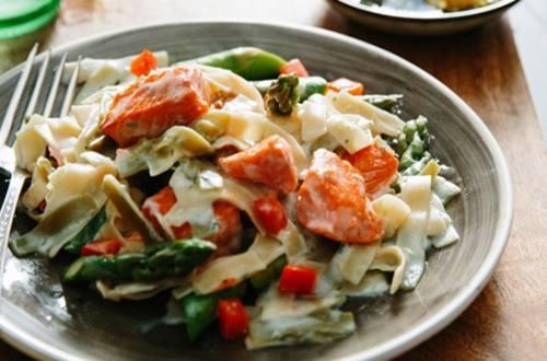 Lemon-Parmesan Salmon Pasta
