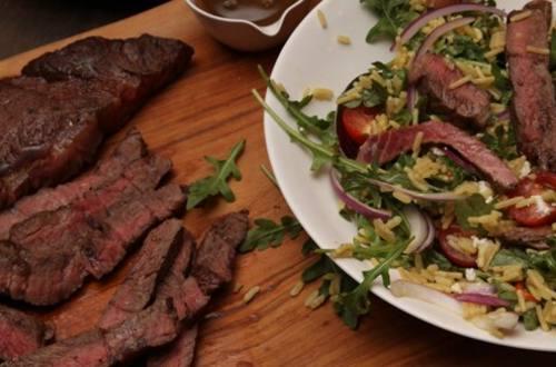 Balsamic Steak & Arugula Salad with Rice