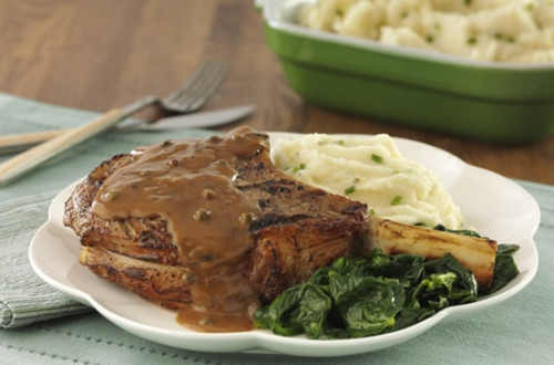 Veal Chops with Black Pepper Goat Cheese Sauce
