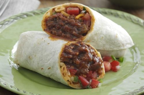 Burritos de res deshebrada
