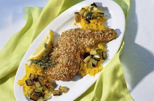 Knorr - Sesam-Hähnchen mit Auberginengemüse