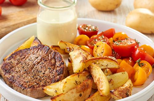 Ossenhaas met geroosterde aardappels en béarnaisesaus