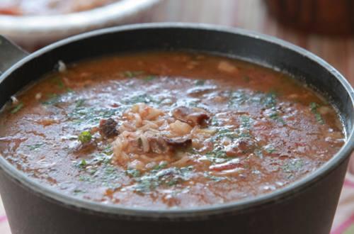 Суп из баранины с рисом и помидорами