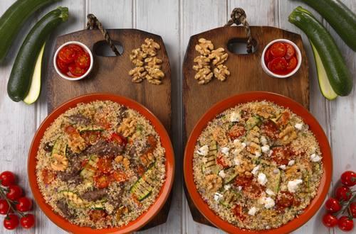 Quinoa mit gegrillter Zucchini (vegetarisch oder mit Rindfleisch)
